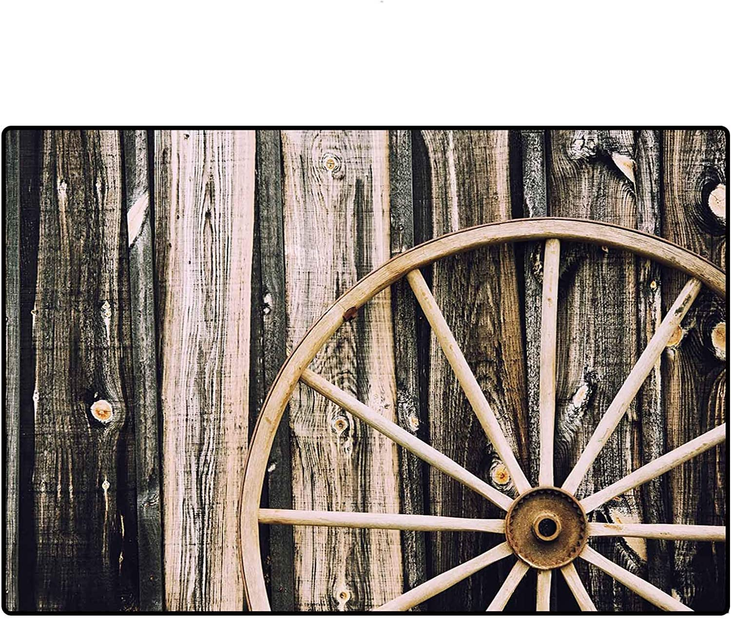 Barn Wood Wagon Wheel Rugs and Carpets 2x3 Ft, Wooden Barn Door and Vintage Rusty Wheel Rustic Home Farm Personality Rugs, Black Light Brown