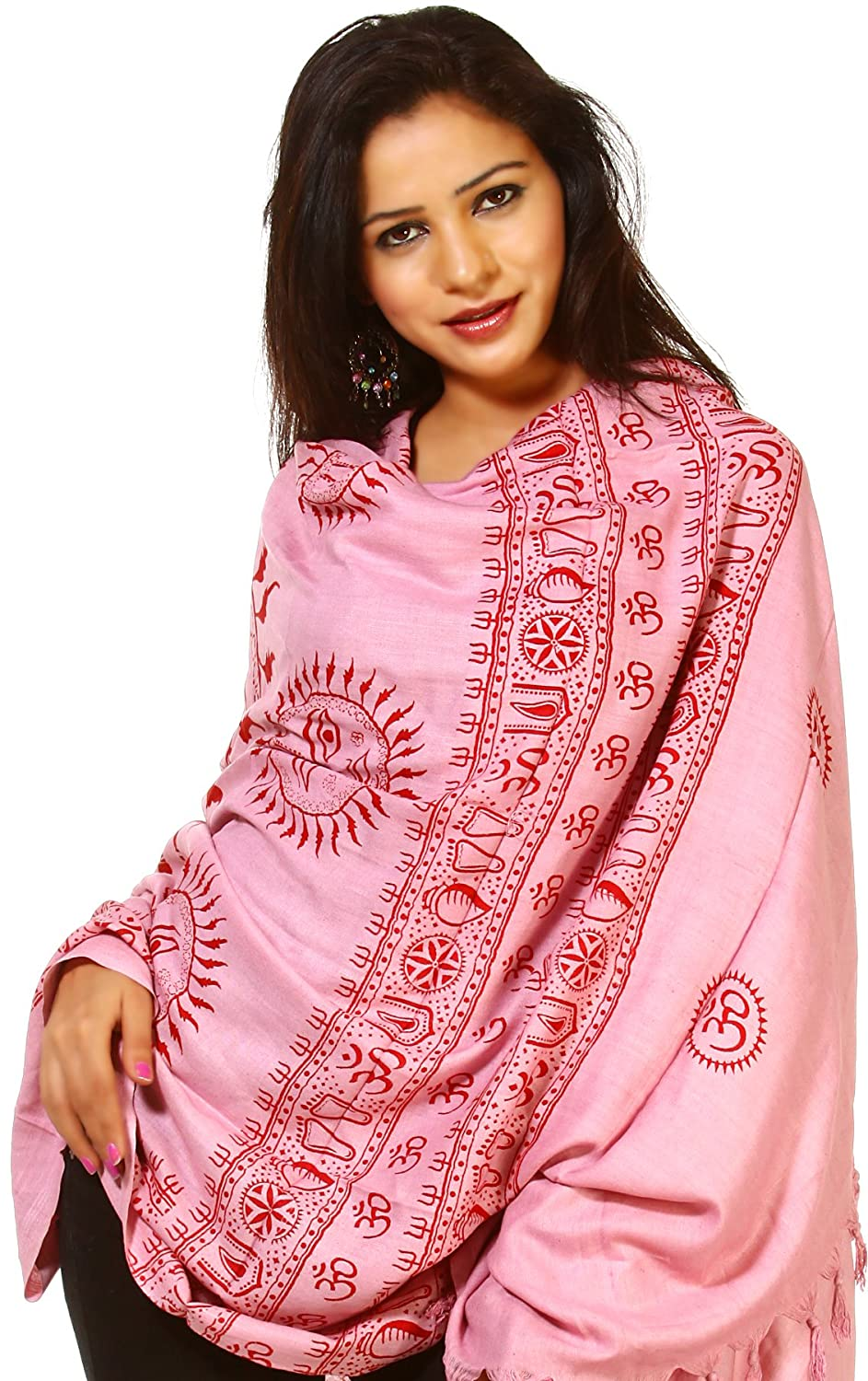 Exotic India Pink Printed Surya (Sun God) Prayer Shawl SRB34