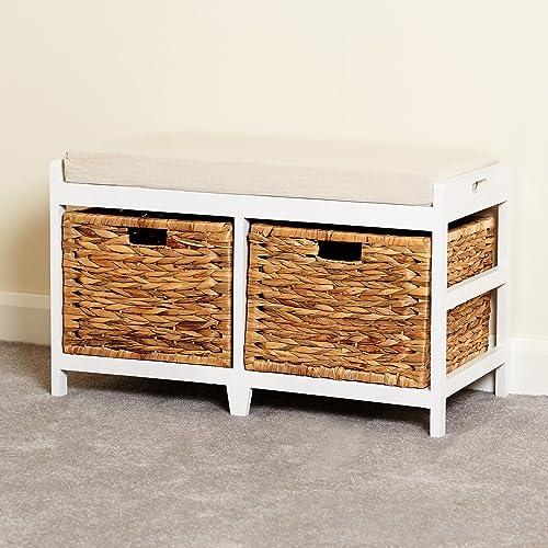 Ordinaire Hartleys White Bench Cushion Seat U0026 Seagrass Wicker Storage Baskets