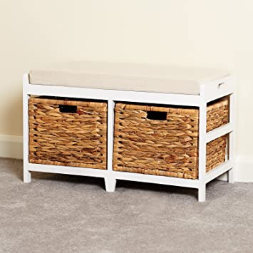 Hartleys White Bench Cushion Seat Seagrass Wicker Storage Baskets