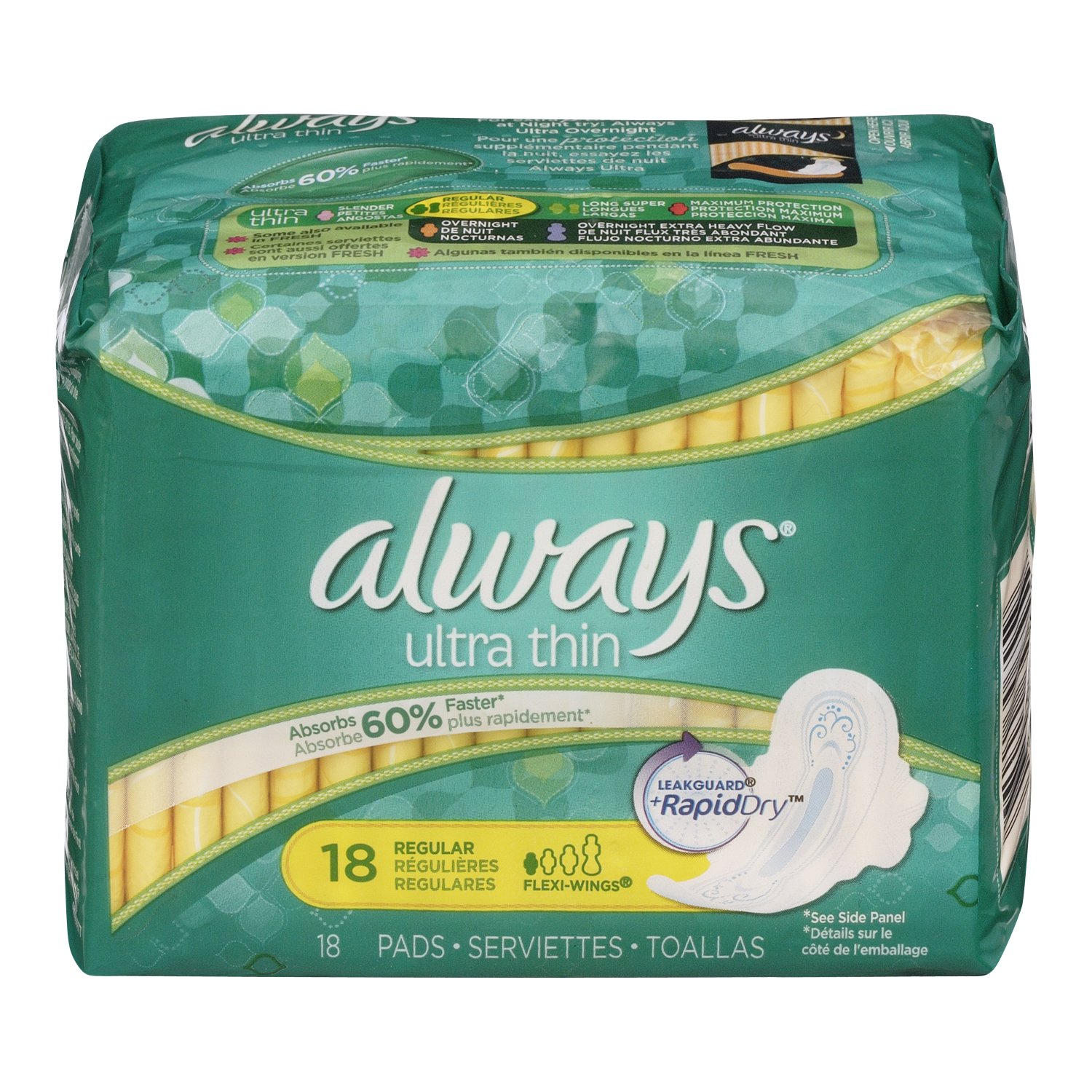 Always Ultra Thin Unscented Pads with Wings, Regular, 18 Count