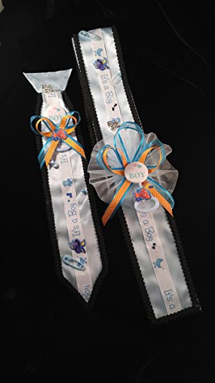Baby Shower Sash With Attached Corsage Ribbon And Tie