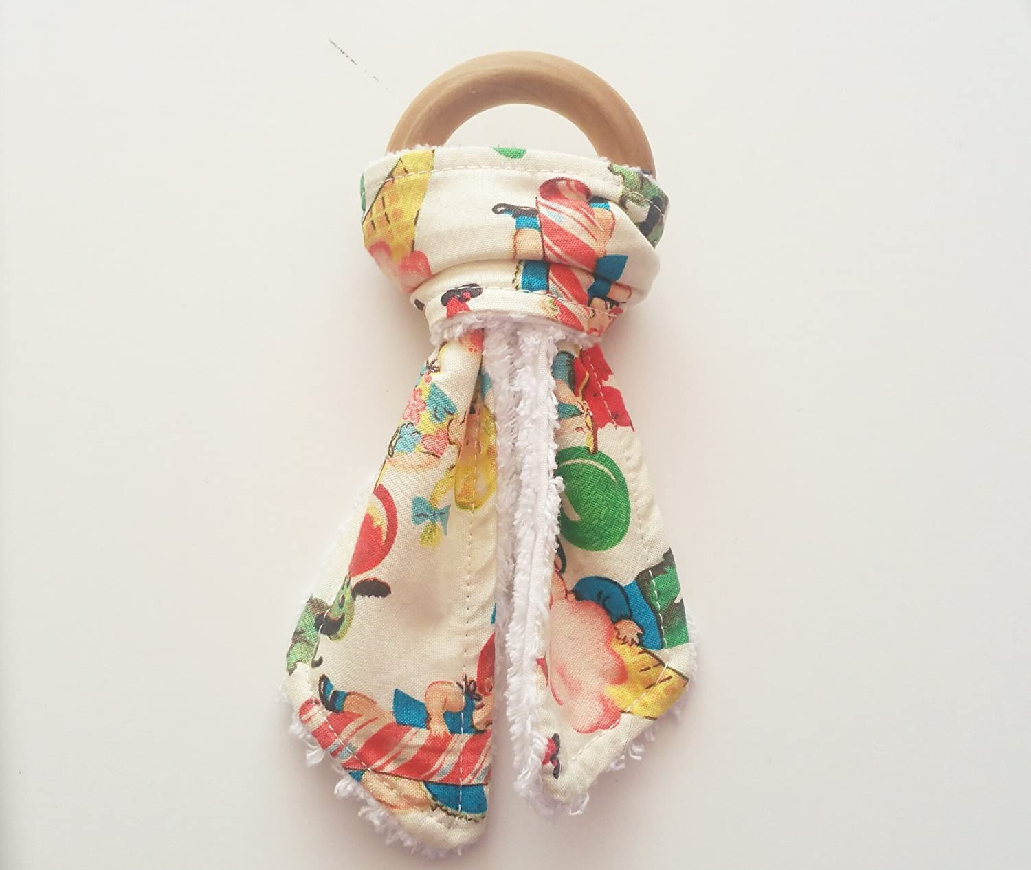 Retro Candy --Bunny Ear Teething ring with Chenille Backing.Teething Rings- wooden teething ring, teething toy, baby teether