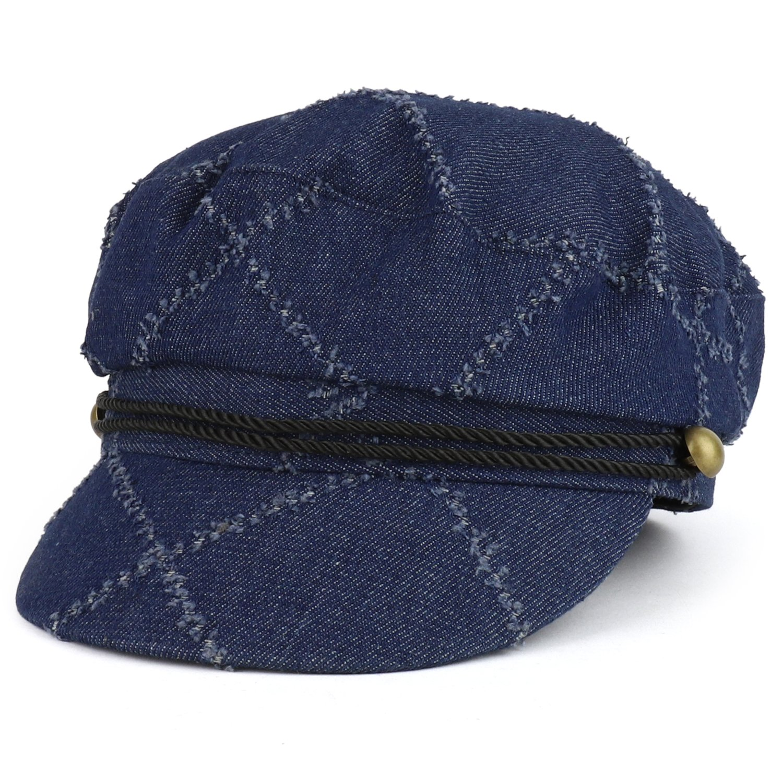 Trendy Apparel Shop Denim Greek Style Newsboy Fisherman Hat with Rope Band - Dark Denim
