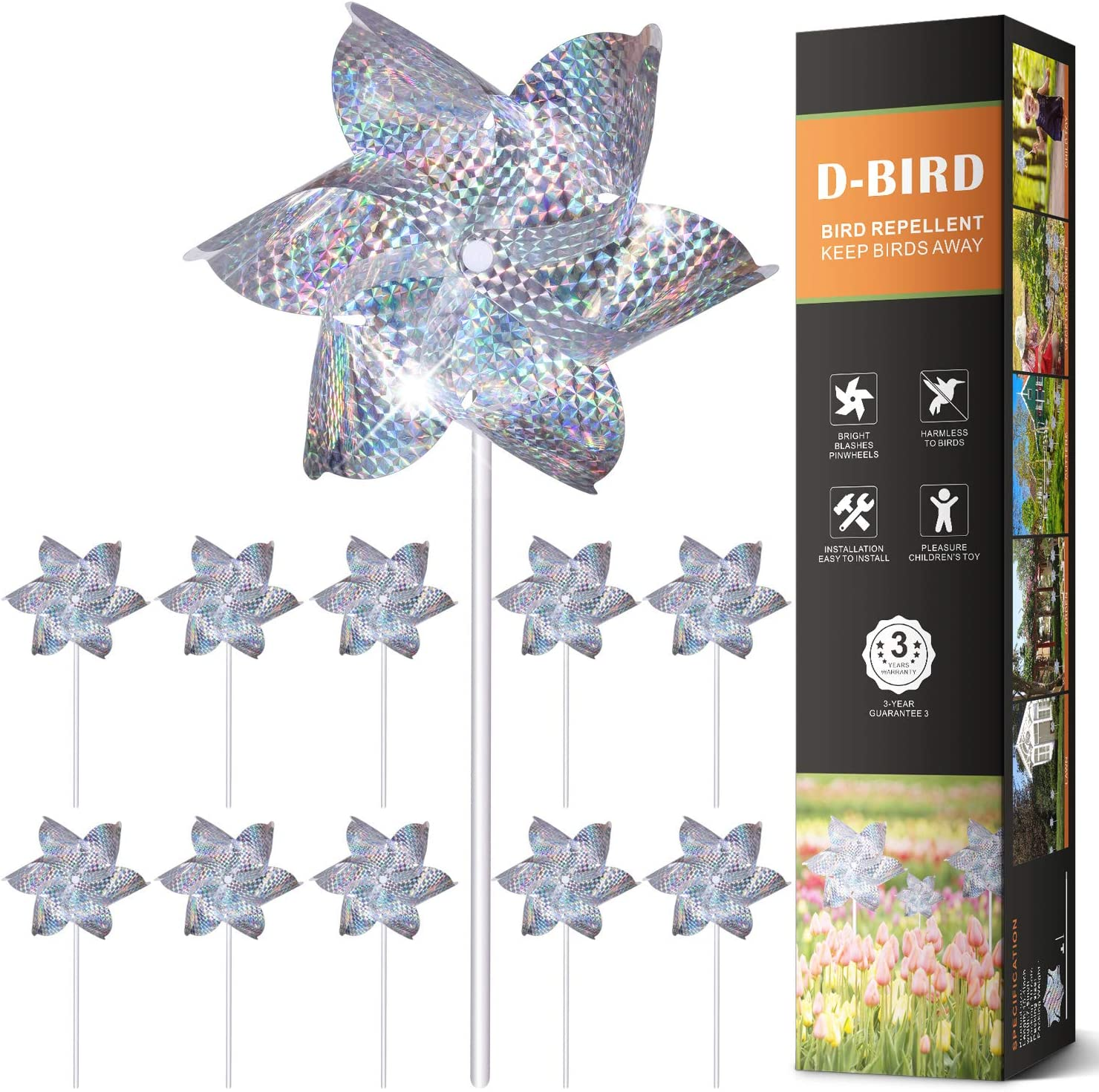 Vctas PinWheels Bird Repellent, High Effective Reflection Materials to Scare Birds Away,Sparkly Silver Spinners, Scare Birds away-10 Pack