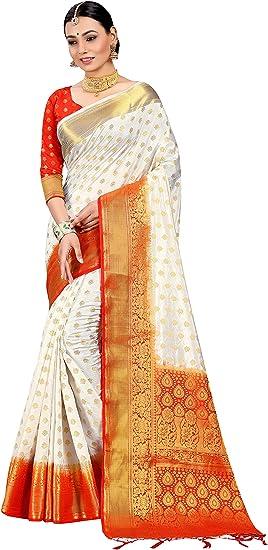 STYLE INSTANT Sarees pour Femme Banarasi Art Silk Saree Zari L Indian Ethnique Mariage Diwali Cadeau de Diwali avec Chemisier Non Cousu