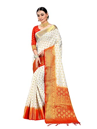 e7720710a63824 Amazon.com: Sarees for Women Banarasi Art Silk Woven Saree l Indian Wedding  Gift Sari with Unstitched Blouse Off White: Clothing