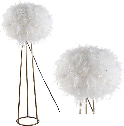 JONATHAN Y JYL9052A Stork 52″ Feather Metal LED Floor Lamp