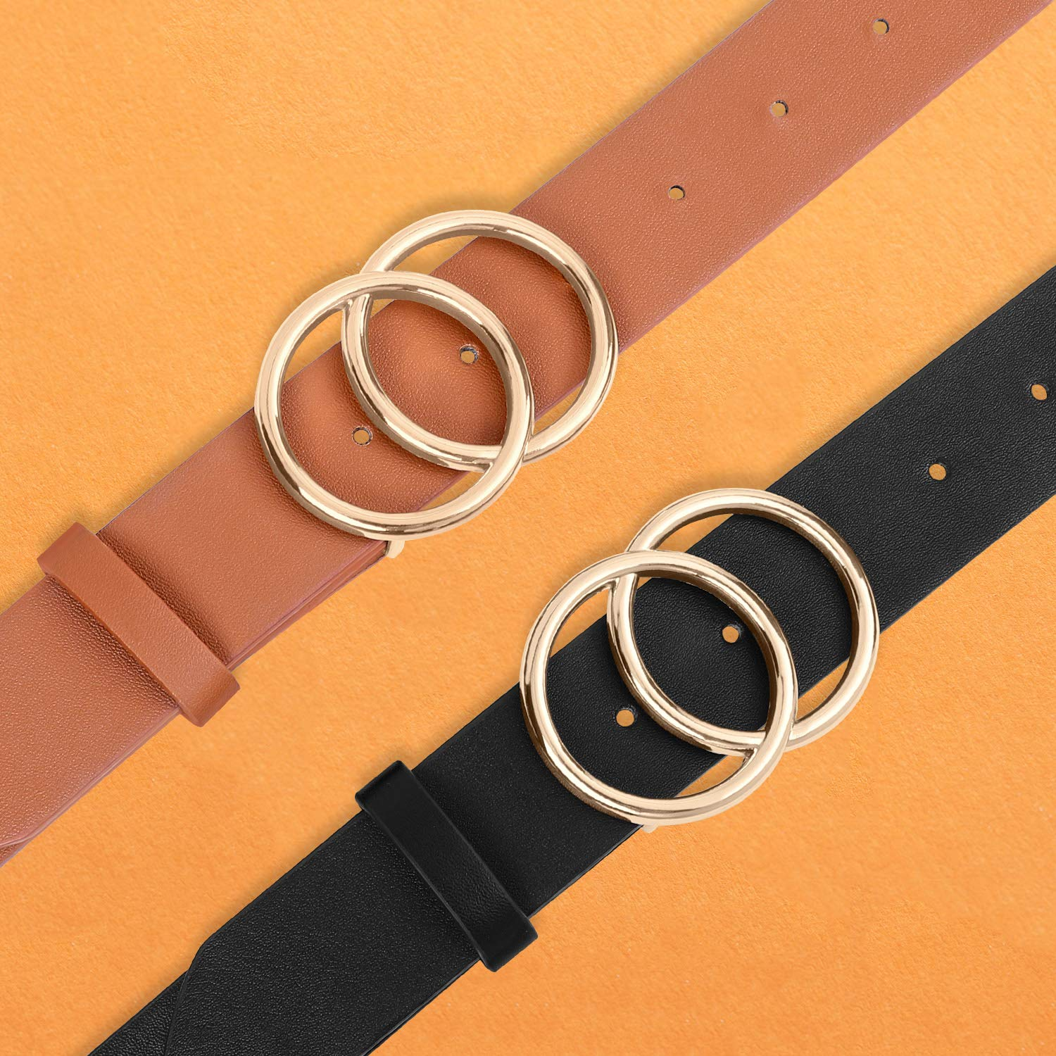 2 Pack Faux Leather Belts for Women Designer Jeans Dress Belt with Double O-Ring Gold Buckle (Black+Brown,2 Pack)