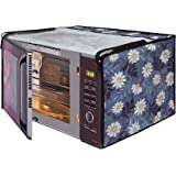 Glassiano White Flower Printed Microwave Oven Cover for LG 32 Litre Convection Microwave Oven MC3286BRUM, Black