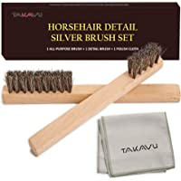 TAKAVU Horsehair Detail Brush Set, 2 Silver Cleaning Brushes and Polish Cloth for Detail Polish Work, Fine and Heirloom…