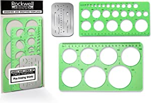 Professional Quality Small and Large Circle Templates Set with Erasing Shield for Drawing, Drafting and Creating by Rockwell Galleries - Circle drawing template for office, class or personal drawings.