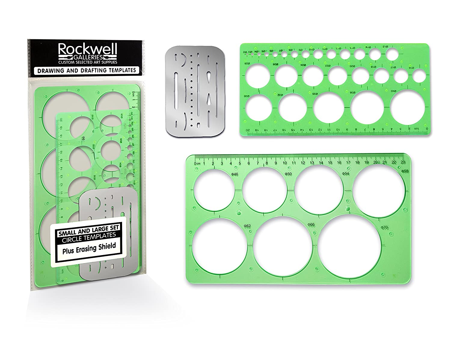 Rockwell Galleries Professional Quality Small and Large Circle Templates Set with Erasing Shield for Drawing, Drafting and Creating by Circle drawing template for office, class or personal drawings. AWF Online Sales 4336946662