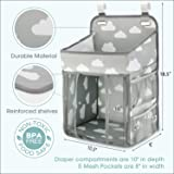 Hanging Diaper Caddy Organizer - Diaper Stacker for Changing Table, Crib, Playard or Wall & Nursery Organization Baby Shower Gifts for Newborn (Gray