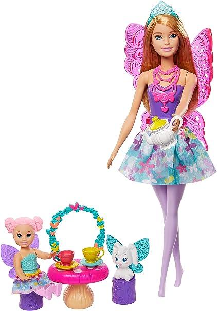 Mattel GJK50 Fiesta de T/é Mu/ñeca de Hada Rubia con Accesorios Dreamtopia Barbie