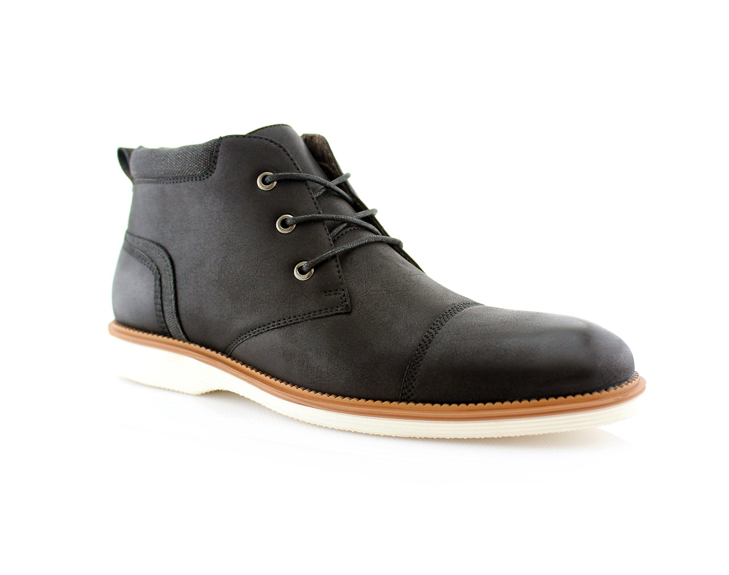 Ferro Aldo Sammy MFA506030 Mens Fashion Casual Mid-Top Sneaker Chukka Boots - Black, Size 9.5