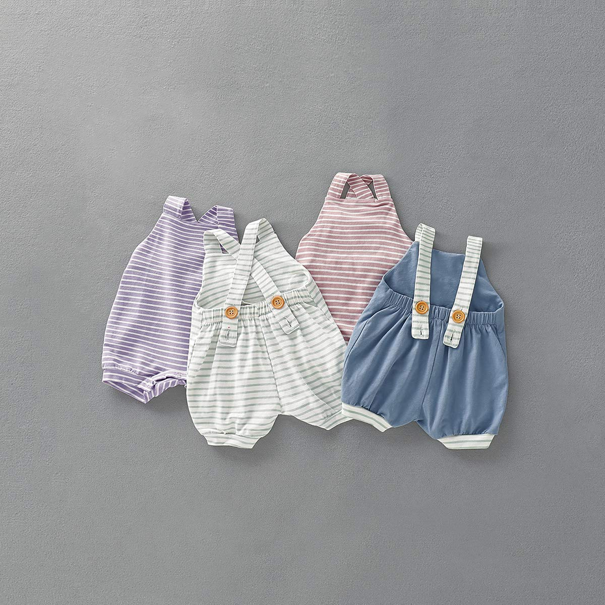 Yuemengxuan Infant Newborn Baby One Piece Summer Romper Baby Girl Boy Striped Jumpsuit Sleeveless Backless Clothes Outfits