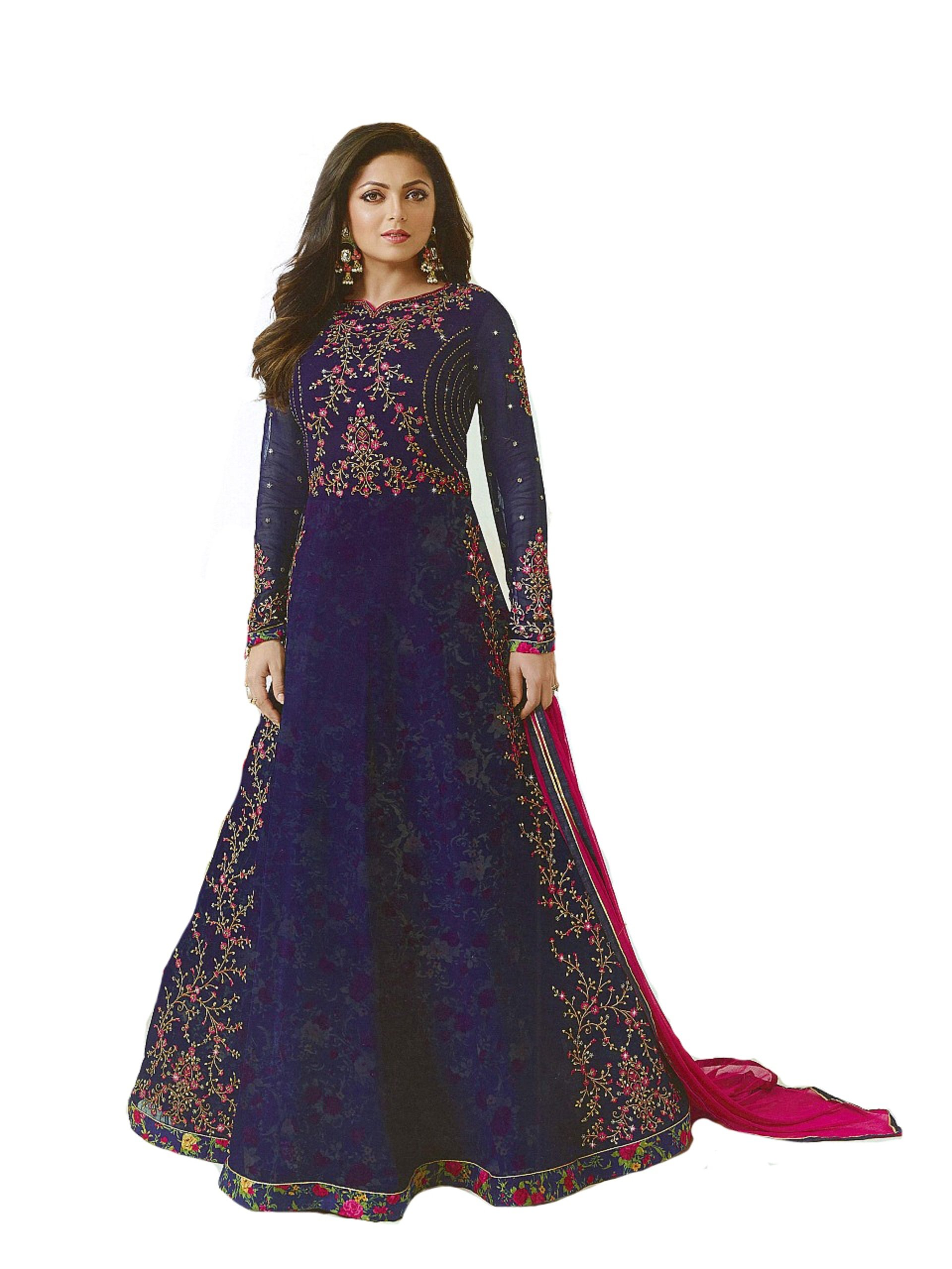ziya Designer Ready Made Indian Fashion Anarkali Salwar Kameez Party Wear LT NITYA2 (Blue, XL-44)