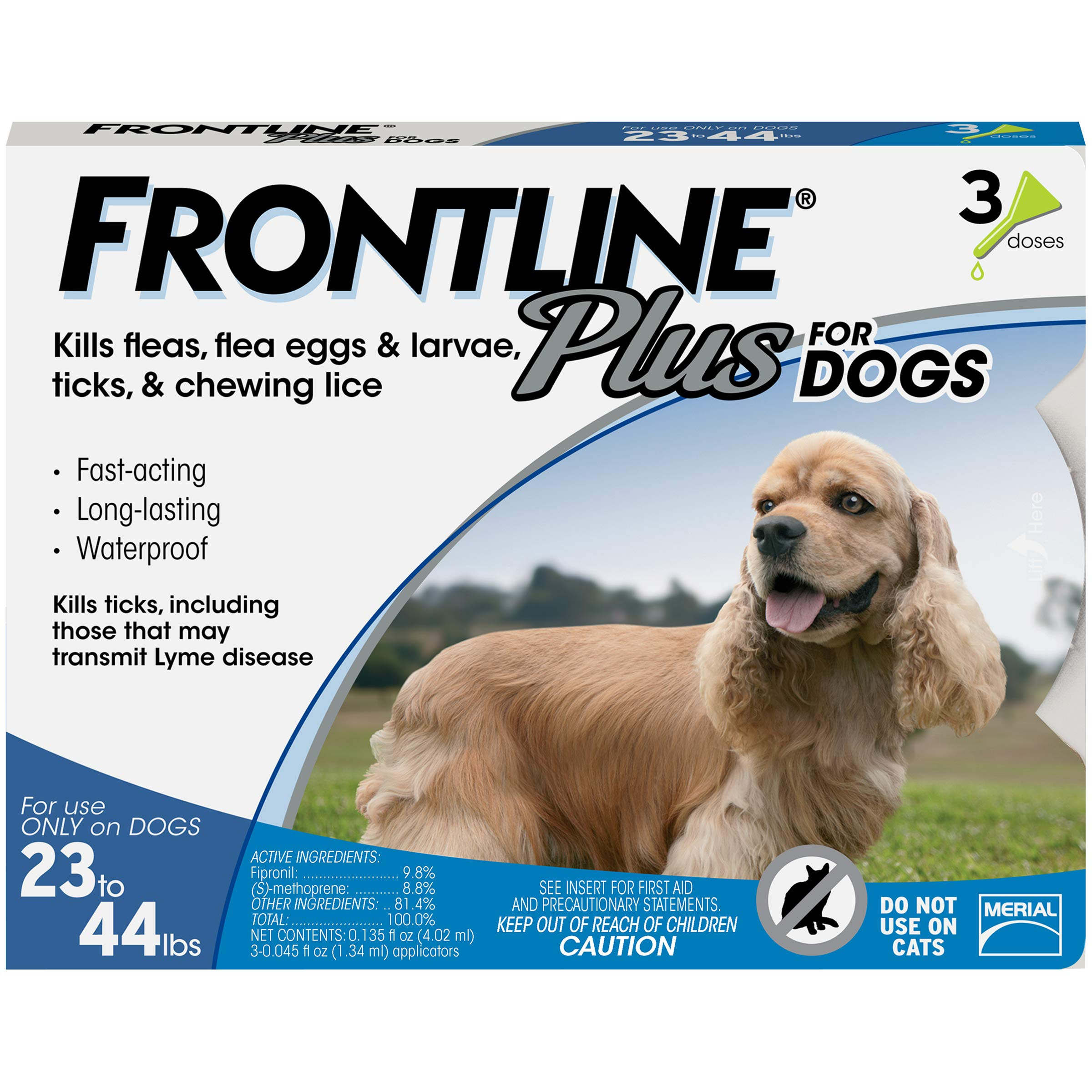Frontline Plus for Dogs Medium Dog (23-44 pounds) Flea and Tick Treatment, 3 Doses by Frontline