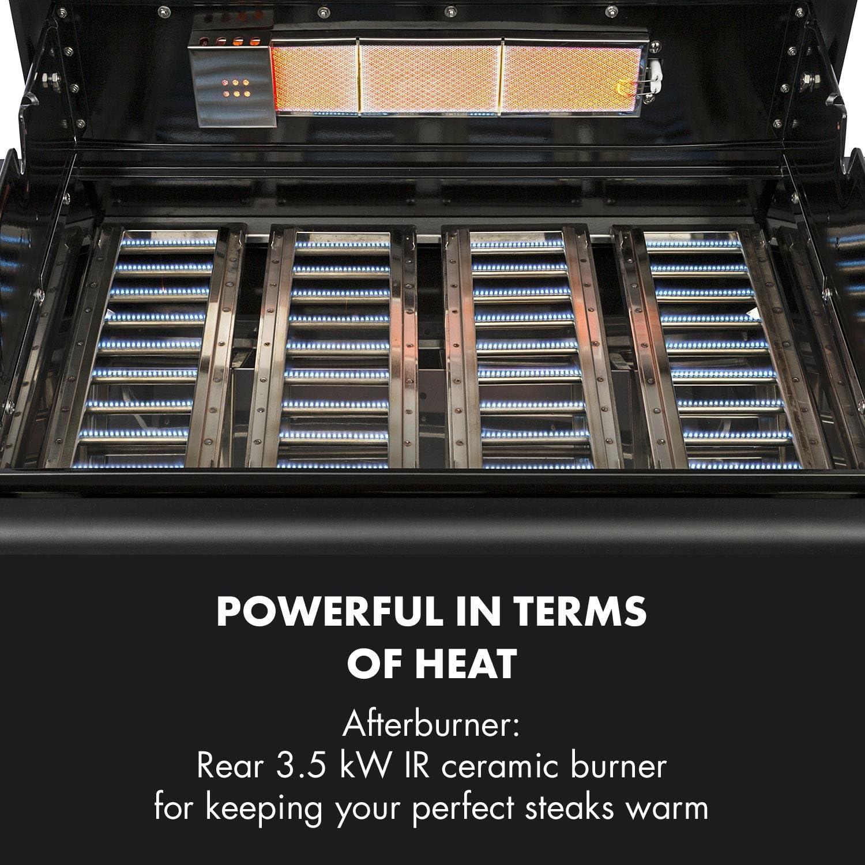 Klarstein - Parrilla de gas de alta calidad para barbacoa de 6 quemadores (acero inoxidable, 19,8 kW, salida total de quemador, 71 x 46 cm), color negro: Amazon.es: Hogar