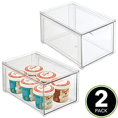 Buy Mdesign Plastic Stackable Kitchen Storage Box With Pull Out Drawer Container For Kitchen Pantry Cabinet Fridge Freezer Organizing Snacks Produce Vegetables Pasta Food 2 Pack Clear Online In Indonesia B088p6jscq