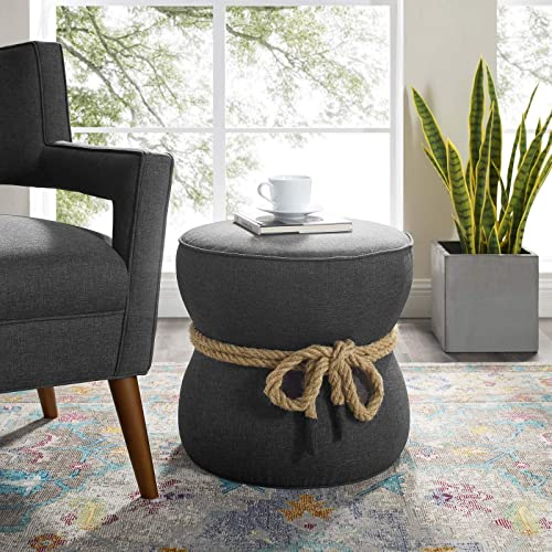 Modway Beat Upholstered Fabric Nautical Rope Round Ottoman