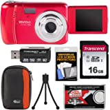 Vivitar ViviCam VXX14 Selfie Digital Camera (Red) with 16GB Card + Case + Tripod + Reader + Kit