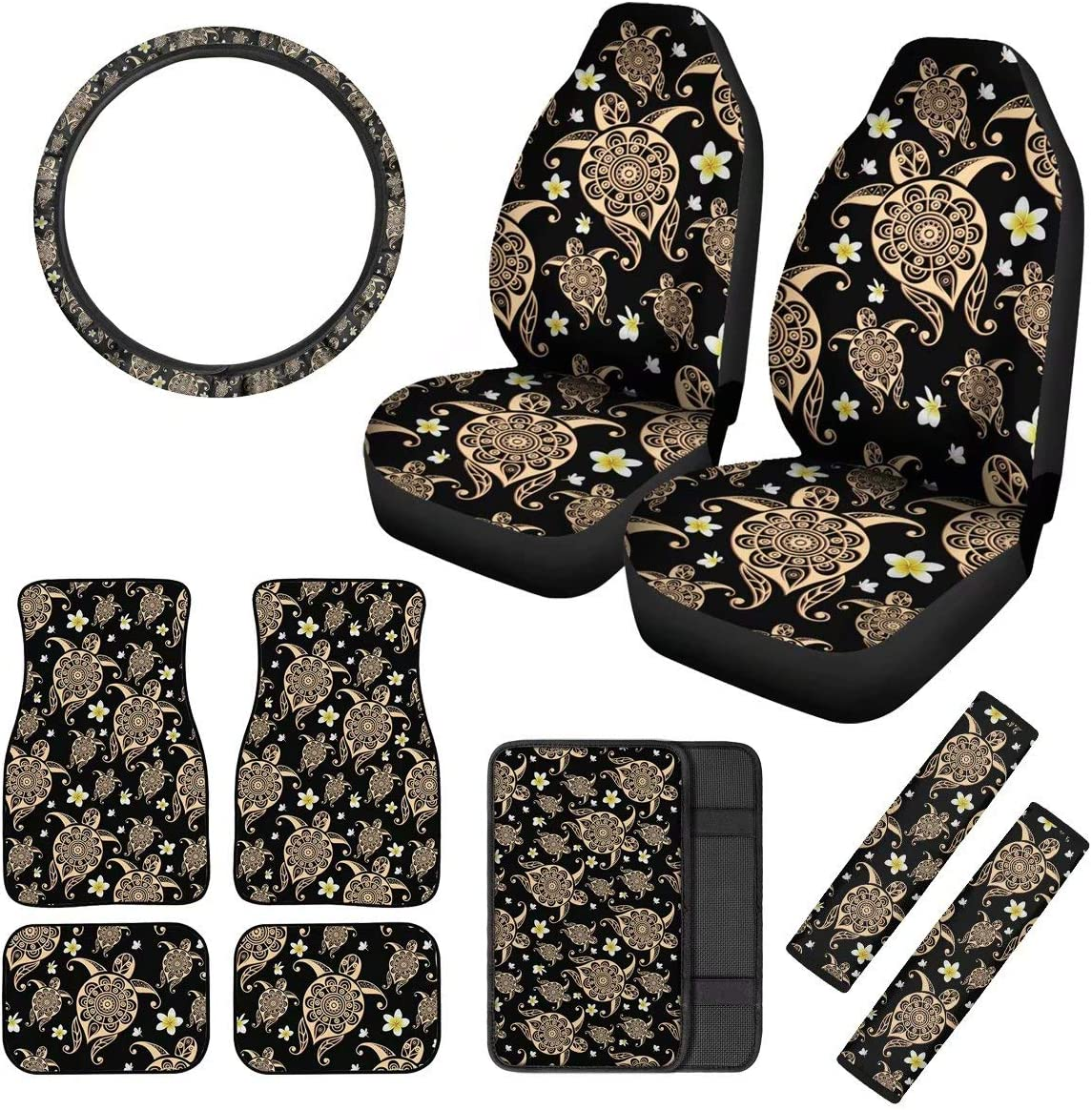 Tupalatus Blue Butterfly Pattern Car Seat Covers for Women Ladies,Car Accessoires 10Packs Set with Floor Mats,Auto Armrest Seat Box Cover,Steering Wheel Cover,Safety Seat Belt Pads Novelty Gifts