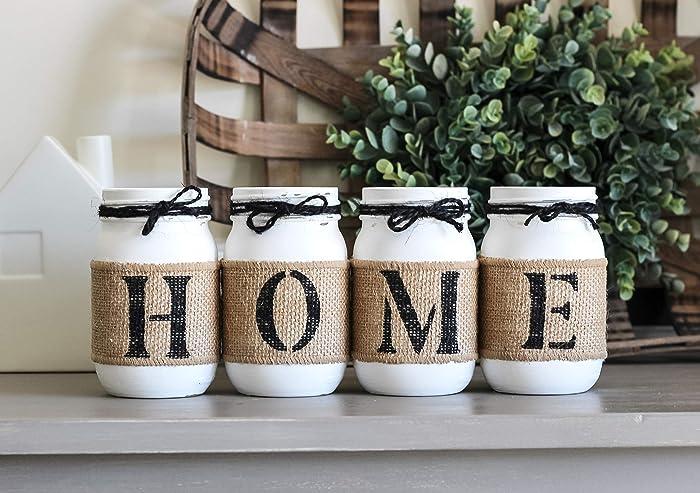 Amazon.com: Rustic HOME Table Decor, Housewarming Gift Idea, Decorative  Mason Jars Set, Farmhouse Style Decor: Handmade