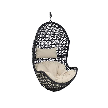 Sunnydaze Cordelia Hanging Egg Chair, Resin Wicker, Large Basket Design,  Indoor Or Outdoor