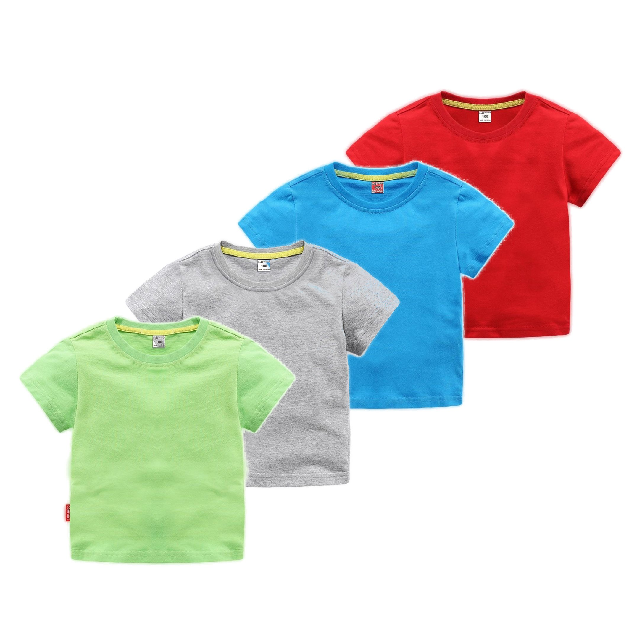 Motecity Fashion Little Boys' Summer Solid Color Cotton T-Shirt (6 T, Multi) Pack of 4