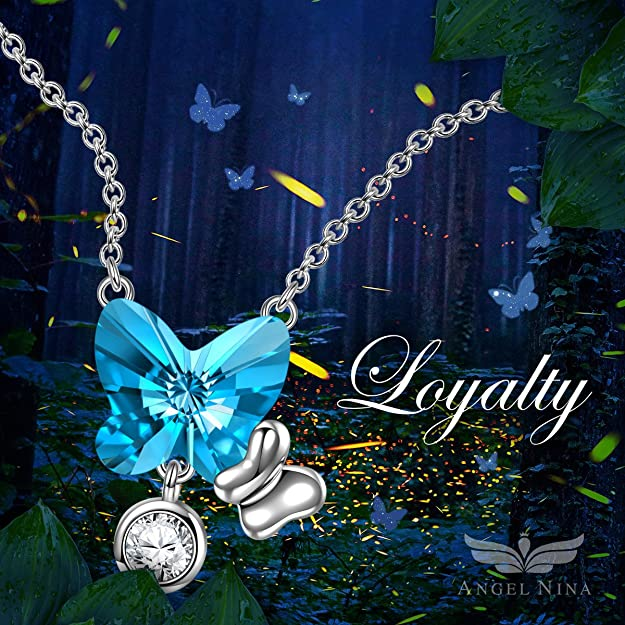 Amazon.com: ANGEL NINA Valentines Gifts for her Necklaces for Women Butterfly Silver Necklaces for Girlfriend Wife for her Women Birthday Gifts for Daughter ...