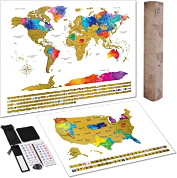 TOBEHIGHER Scratch Off World Map