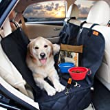 Waterproof Pet Back Seat Protector Cover for Car, SUV & Track+4 BONUS Non Slip Dog Car Seat Cover W/ Side Flaps, Rear Bench Hammock W/ Seat Anchors, Seat Belt & Latch Openings, Dog Seat Cover for Pet