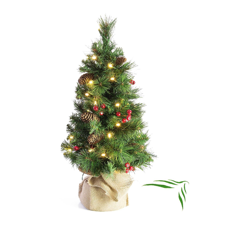 Artplants - Künstlicher Weihnachtsbaum BUKAREST mit 35 LED's, geschmückt, 80 Zweige, 60 cm, Ø 35 cm - Kunst Tannenbaum Deko Christbaum