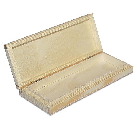 Estuche Madera | 1 Compartimentos | 20,7 x 8 x 3,8 cm | Caja con Tapa para Deocrar y Decoupage | Organizador Arte y Artesanía Bolígrafos Lápices ...