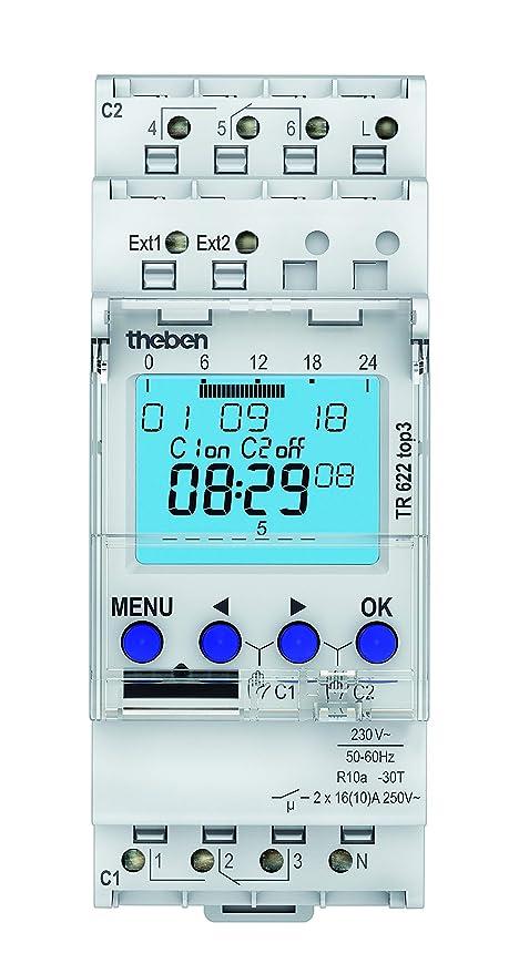 Theben 6220130 tr 622 TOPW - Temporizador digital, 2 canales, aplicación de programación posible