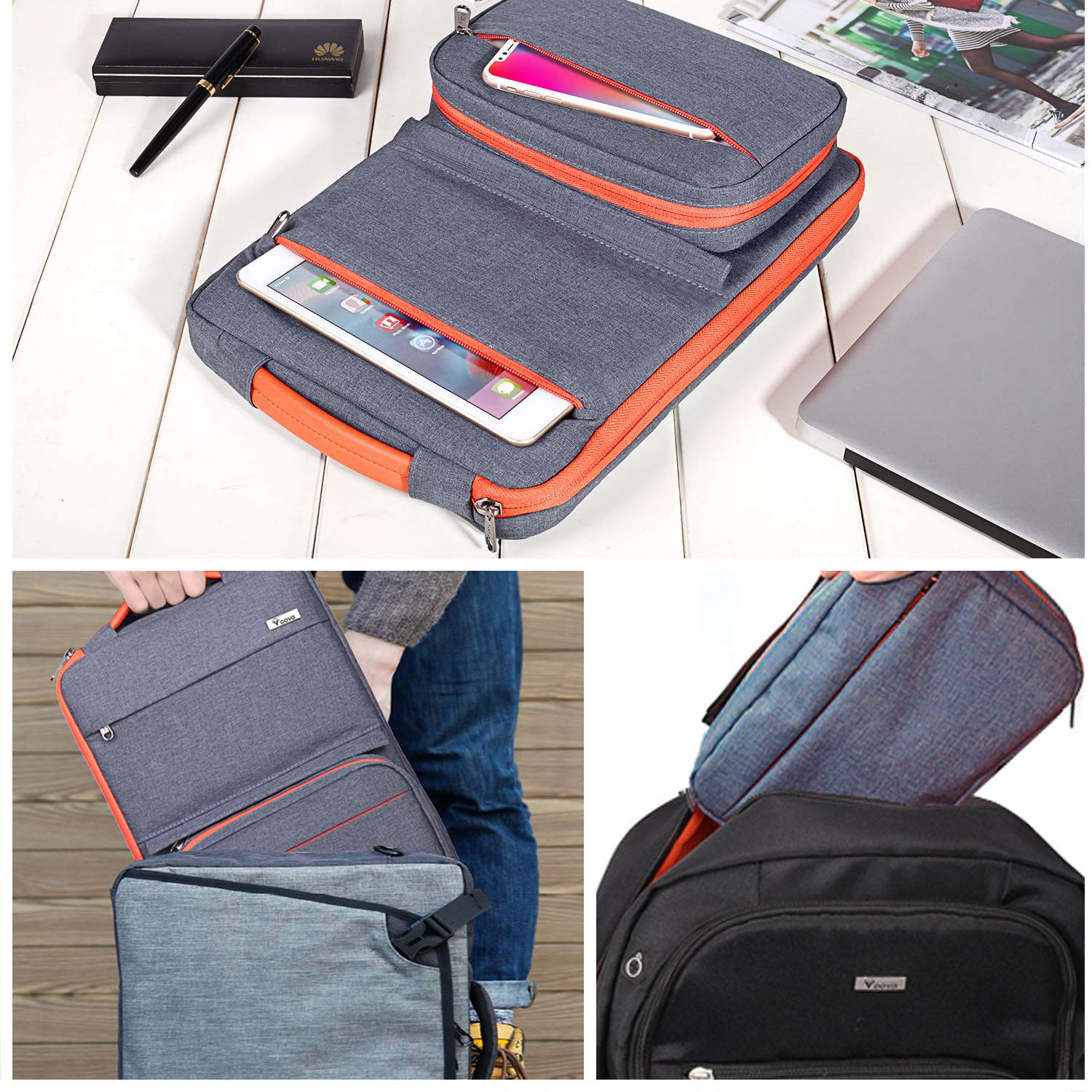 Voova 14-15.6 Inch Laptop Sleeve Bag Cover Special Design Waterproof Computer Protective Carry Case with Detachable Accessory Pocket Compatible with MacBook Pro Retina 15'', HP, Asus, Acer, Dark Gray by  Voova (Image #7)