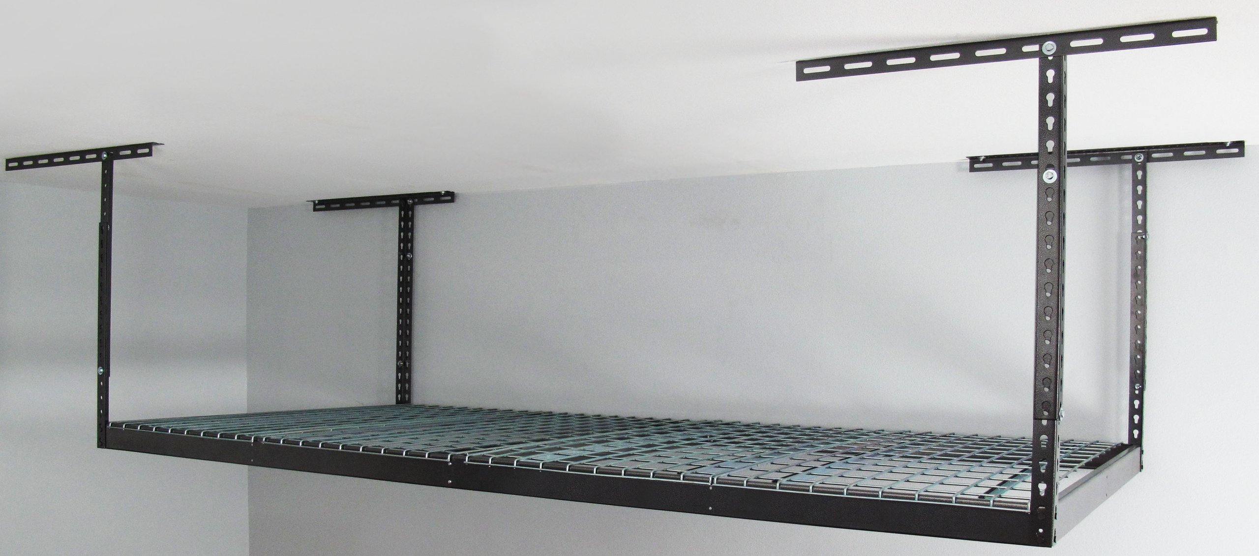 Monsterrax - 4x8 Overhead Garage Storage Rack Heavy Duty (24''-45'' Ceiling Drop) - Hammertone