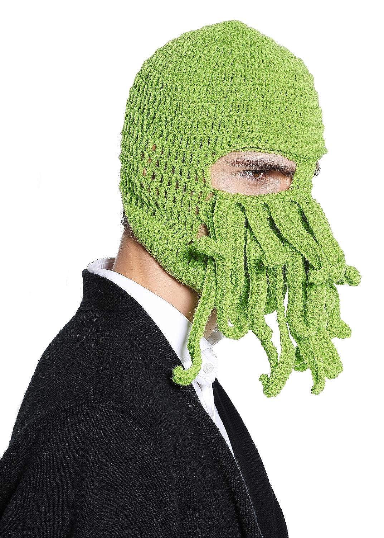 Amazon Green Crochet Cthulhu Octopus Hat Beanie Ski Mask Clothing