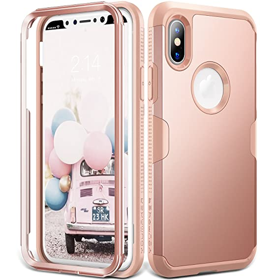 pretty nice 21b0a ba46d iPhone X Case, YOUMAKER Rose Gold Full Body Heavy Duty Protection  Shockproof Slim Fit Case Cover for All New Apple iPhone 10 (2017 Edition)  5.8 inch ...