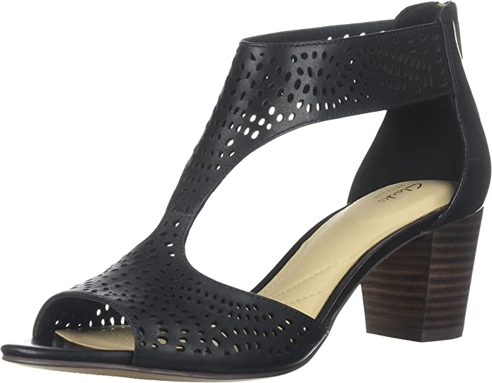 CLARKS Women's Deloria Liv Pump, Black Leather, 9 Medium US