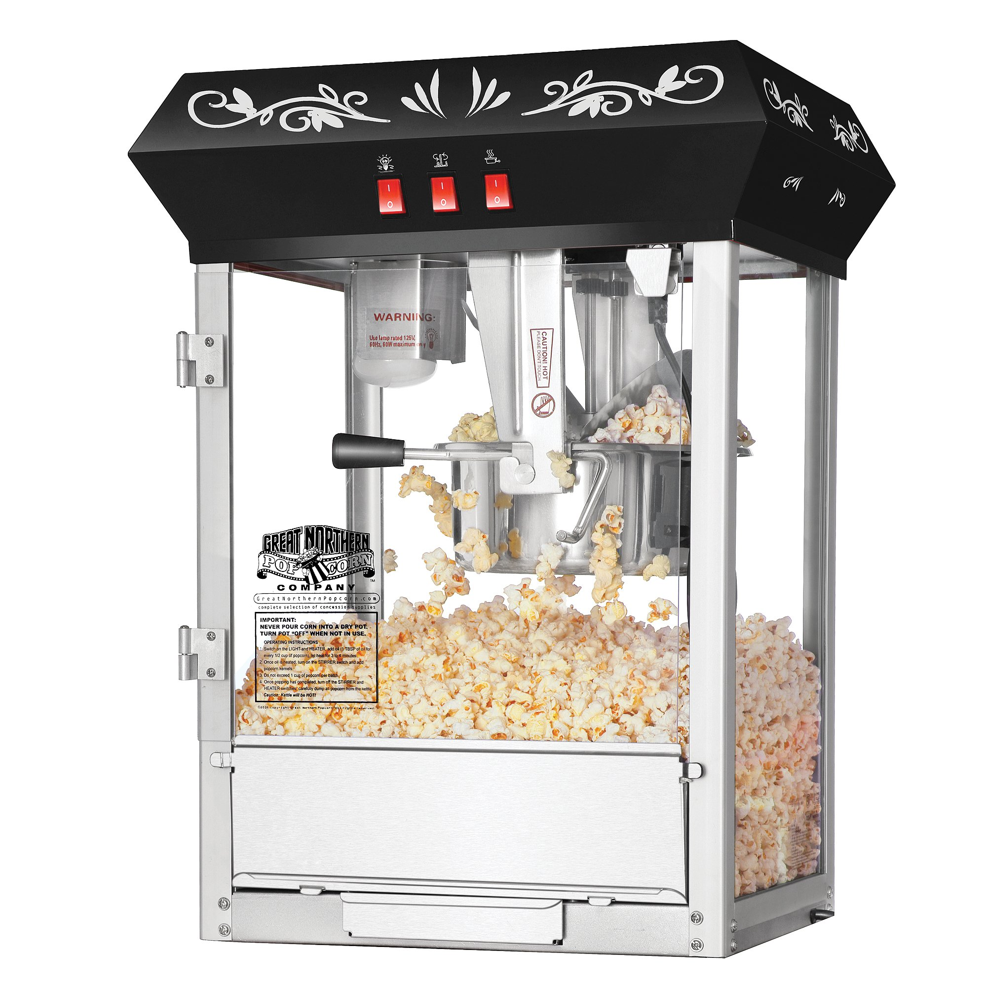 Great Northern Popcorn Black 8 oz. Ounce Foundation Vintage Style Popcorn Machine and Cart by Great Northern Popcorn Company (Image #3)