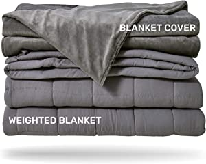 Sleep Mantra Cooling Weighted Blanket 20 lbs - Heavy Queen / Full Size Grey 2 Piece Set, Glass Beads Filled Comfortable Sensory Blanket with Washable Cotton-Mink Cover