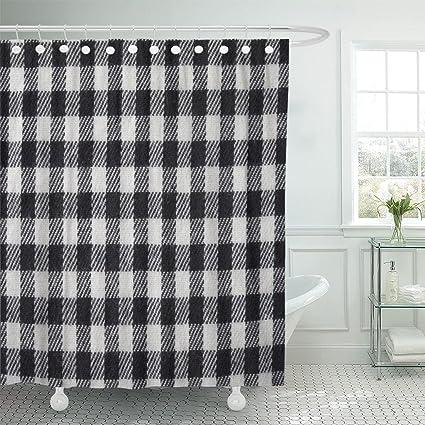 Amazon Emvency Shower Curtain Blue Buffalo Black And White