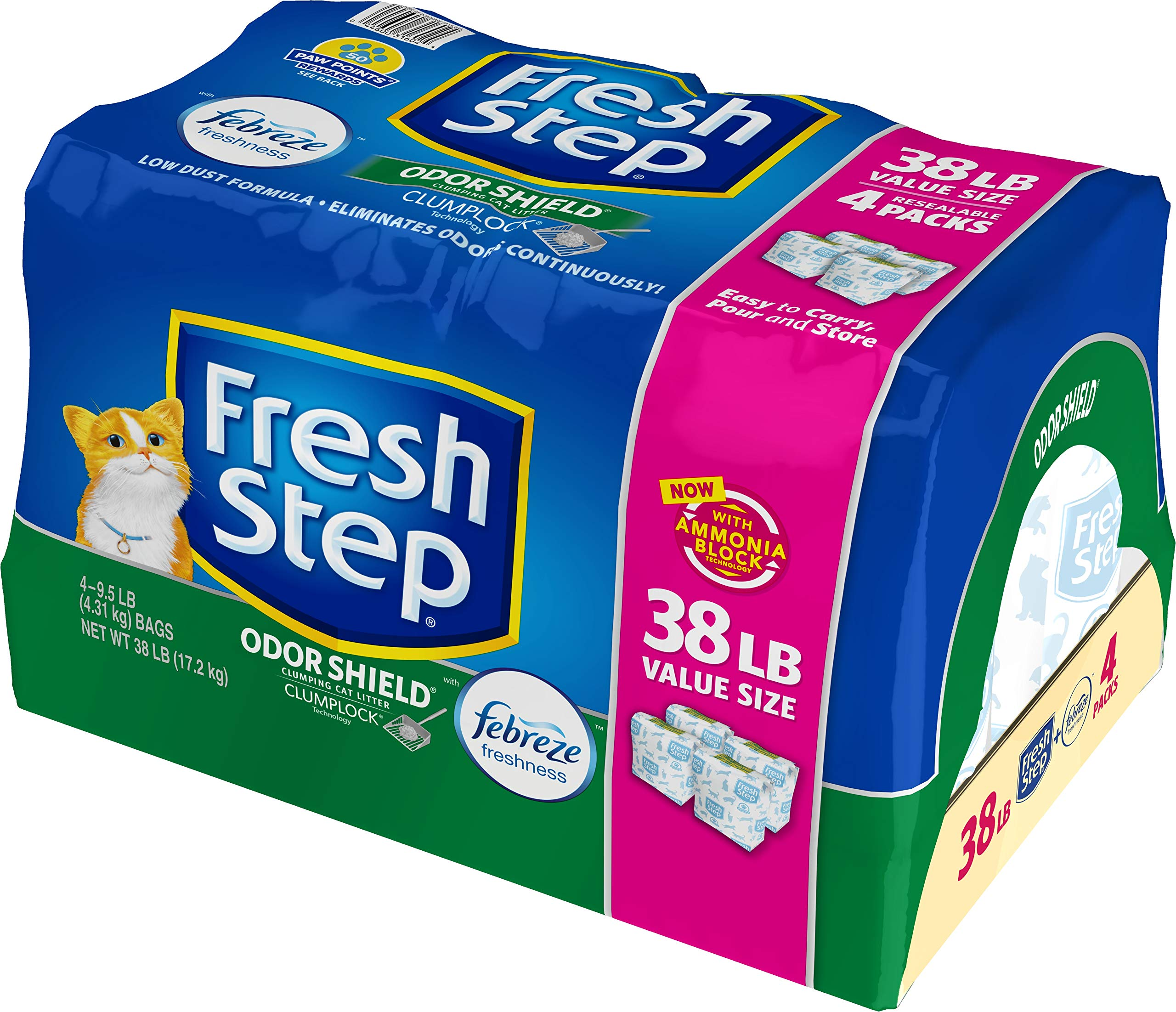 Fresh Step Odor Shield Scented Litter with The Power of Febreze, Clumping Cat Litter, 38 lb by Fresh Step