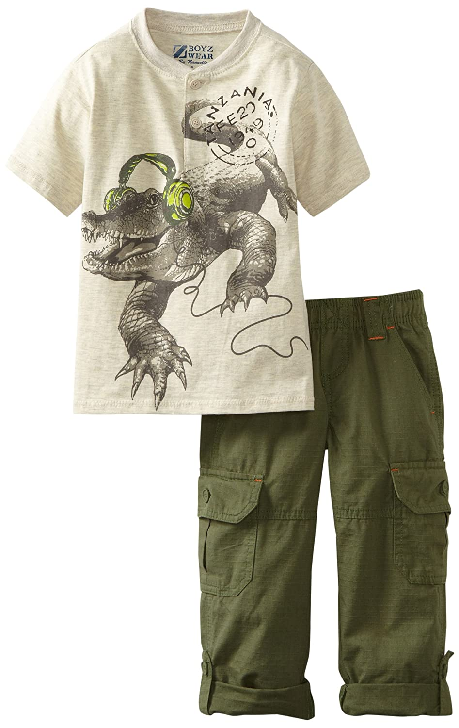 Nannette Little Boys 2 Piece Alligator Headphone Pant Set Industry 9 Boys 2-7 A366104