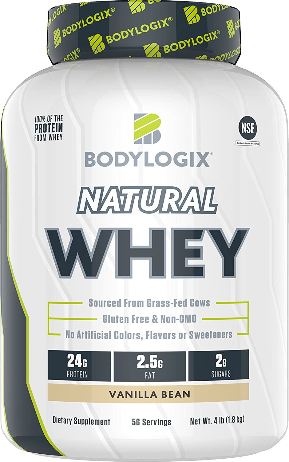 Bodylogix Natural Grass-Fed Whey Protein Powder, NSF Certified, Vanilla Bean, 4 Pound