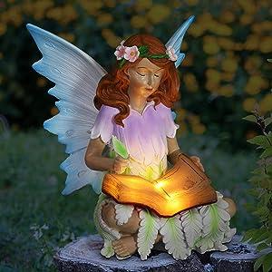Exhart Reading Fairy Statue w/Garden Solar Lights - Mini Resin Fairy Figurine, Book Fairy Statue- Garden, Patio, Living Room, 8