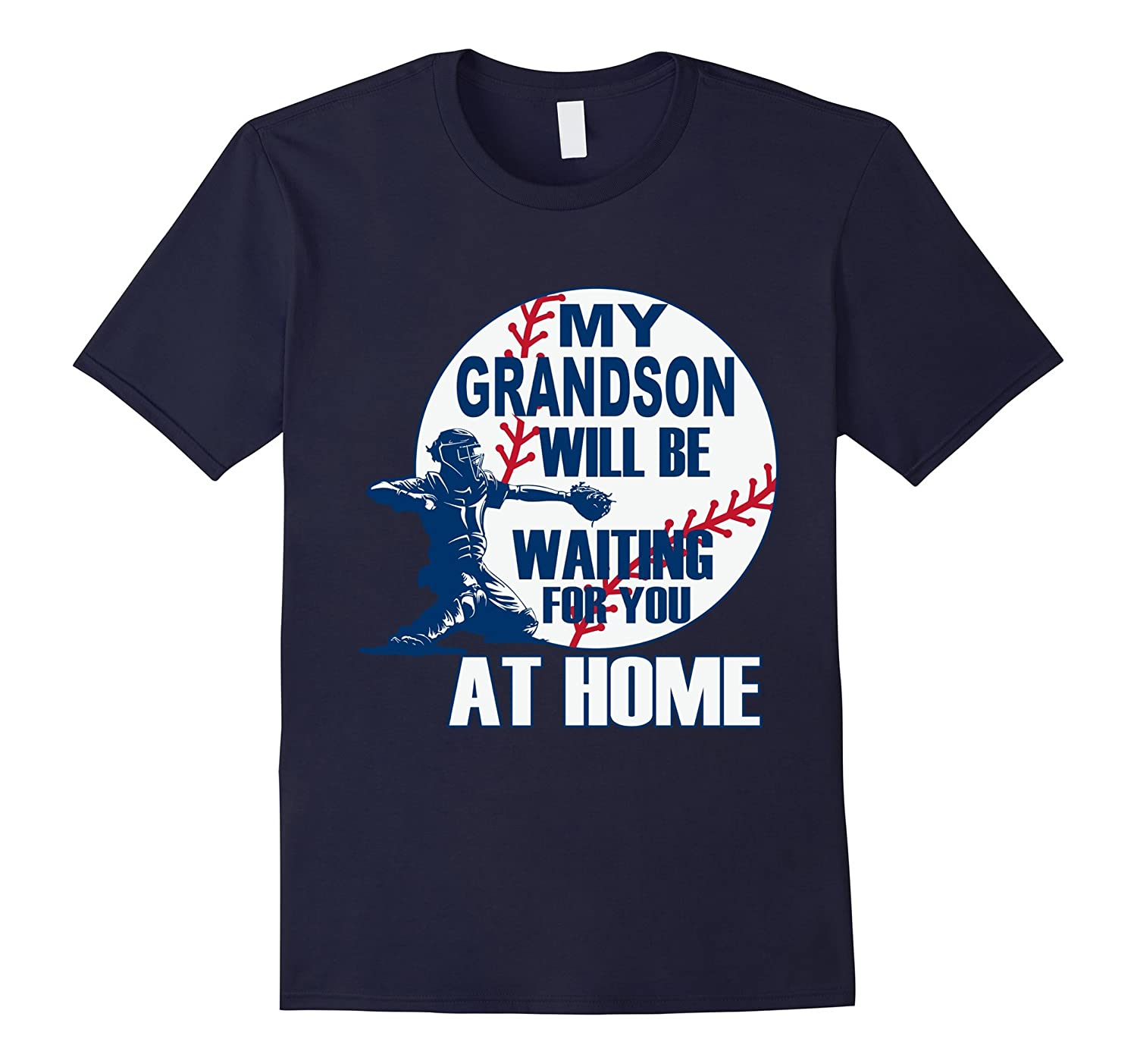 BASEBALL MAMA PAPA MY GRANDSON IS A CATCHER T SHIRT-TH